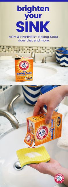 Don't let hard water stains become a part of your bathroom décor. Instead, brighten up your sink with a sprinkling of ARM & HAMMER™ Baking Soda. Use a damp cloth or sponge to rub in, then rinse with water and dry with a clean towel. Yep, it's that easy!