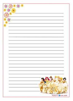 Papéis de Carta da Disney: Princesas, Carros, Sininho para Imprimir                                                                                                                                                                                 Mais