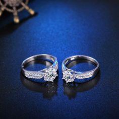 YWM ΚΟΣΜΗΜΑΤΑ Δώρο Ημέρας του Αγίου Βαλεντίνου αυθεντικό 100% 925 δαχτυλίδι ασήμι Κλασικό δαχτυλίδι αρραβώνων δέσμευσης για τις γυναίκες κορίτσι