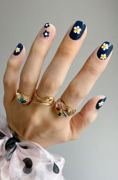 Cute Acrylic Nails, Acrylic Nail Designs, Cute Nails, Nail Art Designs, Short Nail Designs, Stylish Nails, Trendy Nails, Navy Blue Nails, Nail Art Blue
