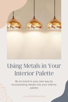 Be on-trend in your own way by using metals in your interior palette! CLICK FOR INSPIRATION! #interiordesign #design #homedesign #interior #homeinterior #art #creativity #inspiration #interiorinspiration #mixedmetals #copper #silver #gold #softgold #metalaccents #metalpalette #brushedsilver #pewter #blackandwhite Interior Inspiration, Metals, Pewter, Creativity, Palette, Copper, House Design, Ceiling Lights, Interior Design