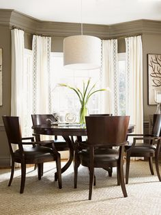 Kensington Place Beverly Glen Round Dining Table in Oxford Brown | Lexington | Home Gallery Stores