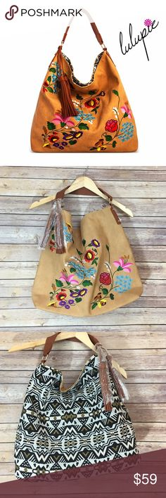 ‼️CLEARANCE‼️Taupe Reversible Embroidered Bag Reversible Emboidery Fashion Hobo Bag  Vegan Leather Reversible Bag Available in black also  Hidden Magnetic Top Closure 17(W) X 6(D) X 16(H) Lulupie Bags Hobos