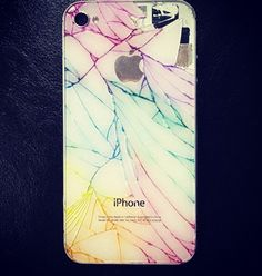 Get way to decorate your iPhone when cracked... All you do is take some markers and press the ink into the cracks.. Comes out so good! Pic creds: cousin