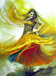 Saatchi Art: Euphoria -II Painting by Laxman Kumar Dance Paintings, Indian Art Paintings, Indian Women Painting, Abstract Paintings, Oil Paintings, Landscape Paintings, Abstract Art, Indian Folk Art, Krishna Art