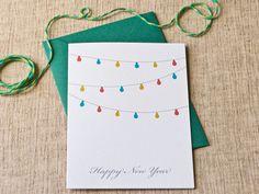 String of Lights Happy New Year Card par lauramacchia sur Etsy