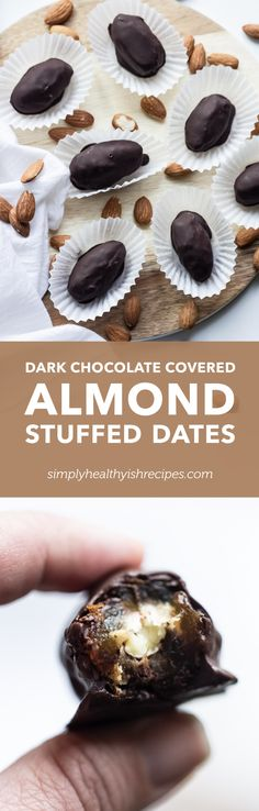 Dark Chocolate Covered Almond Stuffed Dates.What could be more luscious than almond stuffed into dates? Only one thing; dates & almond dipped in dark chocolate! This easy recipe creates one of a kind treat that will appeal to just about anyone! Sweets Recipes, Easy Desserts, Delicious Desserts, Fudge Recipes, Healthy Desserts, Vegan Recipes, Chocolate Treats, Chocolate Recipes, Chocolate Covered Almonds