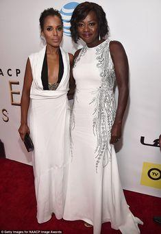 Wonderful in white: Kerry Washington (L) and Viola Davis looked stunning at the NAACP Image Awards in Pasadena, California on Friday