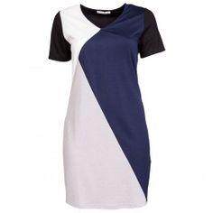 Kjole med korte ærmer og abstrakt mønster