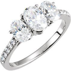 14kt White 1 1/6 CTW Diamond Semi-Mount Engagement Ring for 7x5mm Oval Center   Stuller