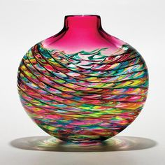 Optic Rib Flat Lime Turquoise Cranberry with Wine Red art glass vase by Michael Trimpol via artful home