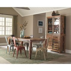 Keller Collection 180161 by Coaster $2269  Set includes dining table, 6 chairs, and server/hutch.  Casual+Dining+Room+Group+Rustic+Multi+color+coaster+metal+server+hutch