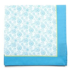 Blue Floral Cotton Pocket Square with Border