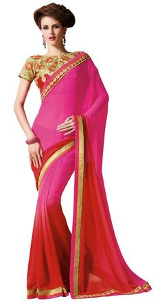 Attractive Rani Pink and Red Saree