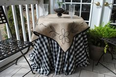Burlap and Gingham Country Chic Table Cover
