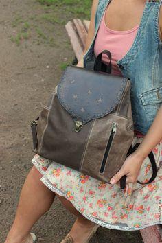 """Купить Рюкзак из натуральной кожи в стиле бохо """"Summer day. Оттенки серого"""" - рюкзак"""