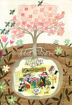 Mary Blair illustrations-this one always fascinated me! Vintage children's illustration Mary Blair, Art And Illustration, Book Illustrations, Disney Vintage, Retro Disney, Baumgarten, Inspiration Art, Art Design, Graphic Design
