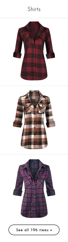 """""""Shirts"""" by lupa-di-bella1 on Polyvore featuring tops, red button up shirt, plaid button up shirts, red flannel shirt, red button down shirt, red top, shirts, brown plaid shirt, brown button up shirt and brown shirts"""
