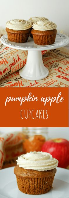 Pumpkin Apple Cupcakes with Brown Sugar Buttercream - Flour Covered Apron
