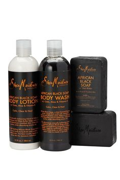 Banish irritated breakout-prone skin with our African Black Soap Bath & Body Quad including African Black Soap Body Wash, Body Lotion and two Bars of African Black Soap Bar Soap. Black Skin Care, African Black Soap, Body Cleanser, Best Face Products, Beauty Products, Skin Products, Dull Skin, Face Skin, Body Wash