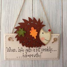 Hedgehog Plaque Sign Ivory Cream with Felt Hodgehog Embellishment Jute Twine Hanger Wildlife Hanger