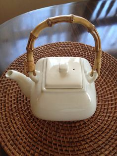 POTTERY BARN Asian Square Teapot in Cream With Bamboo Handle #PotteryBarn
