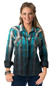 Rock & Roll Cowgirl® Women's Blue, Teal, Olive and Ivory Plaid with Rhinestone Pockets Long Sleeve Western Shirt | Cavender's