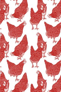 Red Hens by threebearsprints - Hand illustrated hens in red on fabric, wallpaper, and gift wrap. Intricate hand drawn chickens in bold red ink.