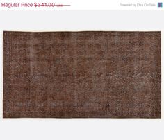 ON SALE 7,1 x 3,9 FT   214X118 cm           Vintage Brown handmade faded-distressed overdyed rug Free shipping (4460)