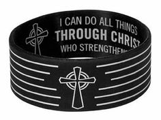 Through Christ Silicone Bracelet by - These silicone bracelets feature inspiring scriptures for christian youth. This one reads: I can do all things through Christ who strengthens me. Philippians 2 (W) x (H) Christian Gifts, Christian Faith, Silicone Bracelets, Cuff Bracelets, Bible Bag, Christian Bracelets, Philippians 4 13, Religious Jewelry, Ear Piercings