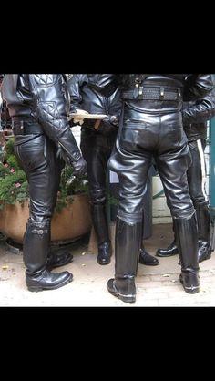 Masculine Men in Heavy Leather Black Leather Pants, Leather Men, Leather Boots, Men Boots, Leather Fashion, Mens Fashion, Men In Uniform, Western Boots, Men Dress