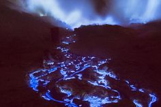 Blue Lava. If you ever visit the Kawah Ijen crater on the island of Java, don't stand too close. That's because what looks like molten rock is actually sulfuric gas---which means it smells like rotten eggs. Which also explains why the stuff is blue and glowing. And if you do make that trip, pack a flashlight and a jacket, because you can only see the show at night.