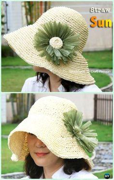Crochet Women Straw Sun Hat Free Pattern - Crochet Adult Sun Hat Free Patterns