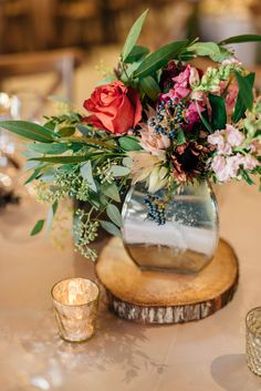 unique winter centerpiece idea - photo by Olive Photography http://ruffledblog.com/woodland-christmas-wedding