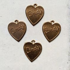 CINDY vintage brass name 18x15mm love heart by MyVintageCharms (Craft Supplies & Tools, Jewelry & Beading Supplies, Charms, charm for necklaces, charm for bracelet, cindy charm, cindy name charm, heart charm, love heart charm, vintage cindy, brass heart charm, cindy heart charm, cindy name, name charm, uk seller, vintage brass)