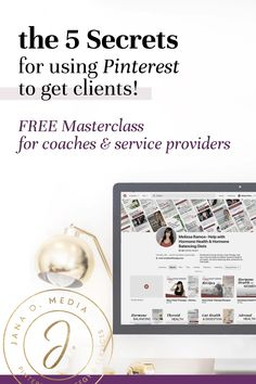 Getting Clients with Pinterest for Business - Free masterclass for online coaches and service providers. Free Pinterest course and tutorial about how to get coaching clients using Pinterest marketing. For health coaches, life coaches, service providers and coaches who use social media to get clients.