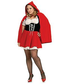 Plus Size Costumes - This adult Little Red Riding Hood Costume includes the the red, white and black costume dress and the red hooded cape. Great couples costume with your date dressed as the Big Bad Wolf! Plus Halloween Costumes, Little Red Riding Hood Halloween Costume, Red Riding Hood Costume, Plus Size Halloween, Fancy Costumes, Adult Costumes, Costumes For Women, Halloween Ideas, Halloween Party