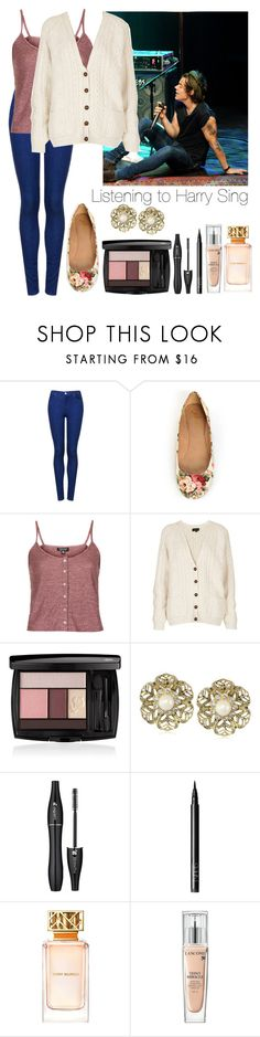 """Listening to Harry Sing"" by elise-22 ❤ liked on Polyvore featuring Topshop, Gomax, Lancôme, Carolee, NARS Cosmetics, Tory Burch, OneDirection, harrystyles, Harry and sing"