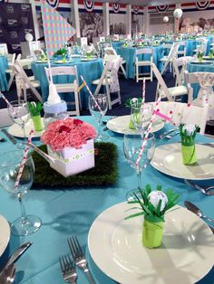 teal blue and green golf themed Operation Shower baby shower