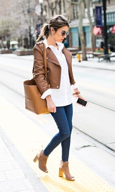 Just The Design: Christine Andrew is wearing a camel faux leather jacket with a Madewell shirt, tiptop dark denim skinny jeans and suede ankle boots