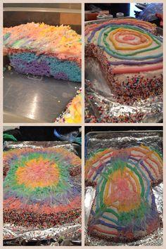 Us Megan's homemade tie dye cake