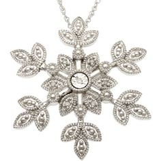Snowflakes are so pretty ~ Diamond-Accent Snowflake Pendant Sterling Silver - jcpenney