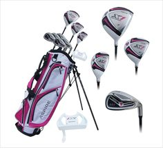 "Aspire X1 Ladies Womens Complete Right Handed Golf Clubs Set Includes Titanium Driver, S.S. Fairway, S.S. Hybrid, S.S. 6-PW Irons, Putter, Stand Bag, 3 H/C's Cherry Pink Petite Size for Ladies 5'3"" and Below!"