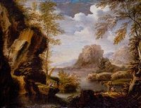 A mountainous river landscape with peasants conversing on a bank by Salvator Rosa