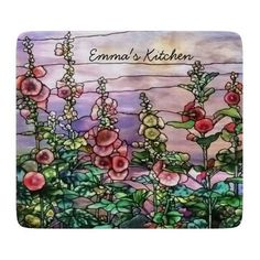Hollyhocks Vintage Floral Tiffany Stained Glass Cutting Board