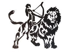 Black Ink Lion and Sagittarius Tattoo Design