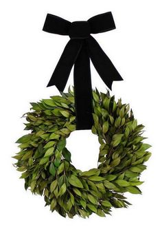 Bay leaf wreath tied with black velvet ribbon. Christmas Bows, Christmas Colors, Winter Christmas, Christmas Music, Christmas Crafts, Merry Christmas, Black And White Interior, White Interior Design, Kitsch