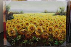 This is a beautiful, 36 x 48 depiction of a Sunflower Field in Tuscany by Antonio.    It was handcrafted with a pallet knife and high quality oils to