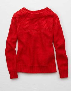 Aerie Cable Pullover Sweater, Red | Aerie for American Eagle