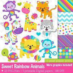 Sweet Rainbow Animals Clipart - Clip Art and Digital paper set